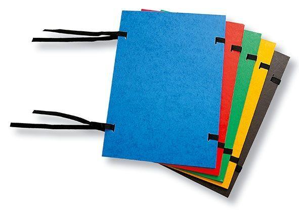Desky spisové tkanicové  A4 prešpán černá ČERNÁ Prešpánové desky bez hřbetu pro zakládání spisů formátu A4