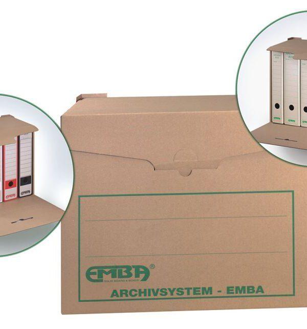 Kontejner archivní úložný box  na 5ks EMBA Kontejner pro snadné ukládání a archivaci dokumentů. Vyrobeno z kvalitní třívrstvé vlnité lepenky
