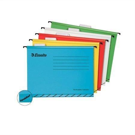 Závěsné desky Pendaflex červené Závěsné zakládací desky -součástí je plastový rozlišovač s výměnným papírovým štítkem -jasné barvy: ČERVENÁ Balení obsahuje: 25 ks