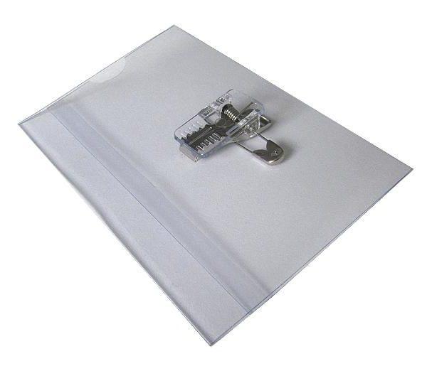 Obal na jmenovku s klipem  a špendlíkem 6x9 naležato Obal na jmenovku s klipem a špendlíkem -měkké PVC -praktické provedení -na jmenovku či kartu -obdélníkový tvar -balení obsahuje: 50 ks