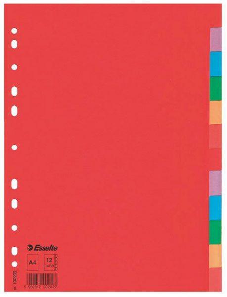 Rozdružovač A4 papír 12 barev Vyrobeno z kvalitního silného kartonu