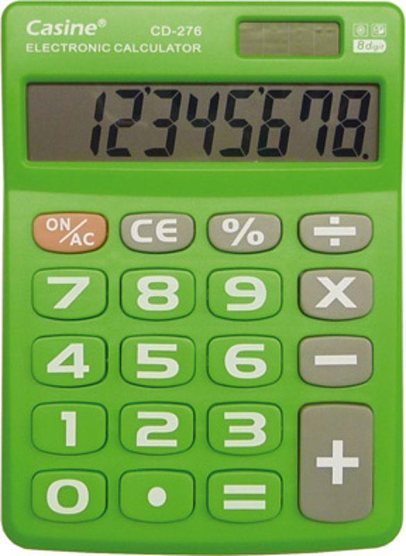 Kalkulačka Milan Casine CD 276 8míst Stolní zelený kalkulátor s velkým 8-mi místným displejem pod úhlem. Kalkulačka má plastovou klávesnicí pro dlouhou životnost