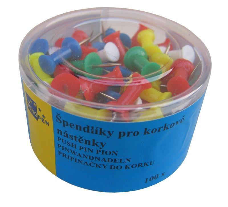 Špendlíky na korkovou nástěnku 100 ks Špendlíky -do korkových tabulí -barevný mix -balení obsahuje 100ks
