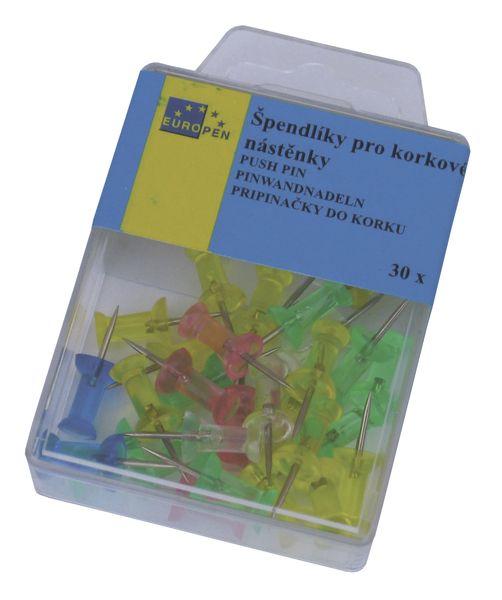 Špendlíky na kor. nástěnku 30 ks transparentní barevné Špendlíky do korkové nástěnky Europen - barevné/průhledné -balení obsahuje: 30ks