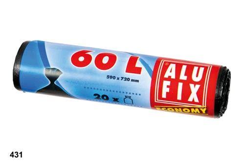 Sáček do koše 60l/55x70/ 20ks ALUFIX economy Sáčky do košů navinuté na roli velmi pevné -objem: 60L -rozměr 55x70 -balení obsahuje: 20ks -(HDPE = polyethylen s vysokou hustotou