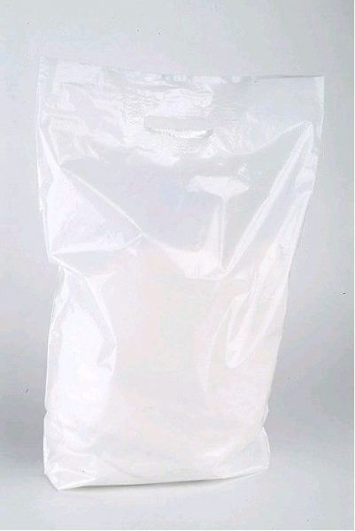 Taška PE s průhmatem bílá 38x45cm tašky odnosné s uchem