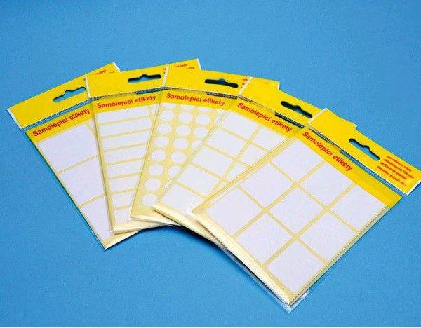 Etikety samolep. 87x55/20 etiket Samolepící etikety bílé barvy vhodné na popisování -pro běžné použití v kanceláři 20ks.