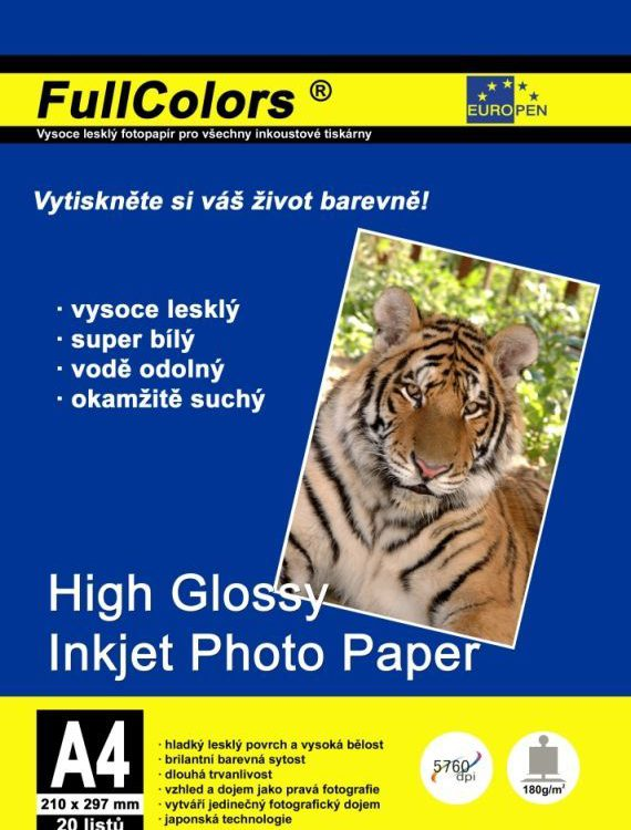 Foto papír A4/180gr/20ks vysoký lesk Papír pro inkoustové tiskárny: ultrabílý