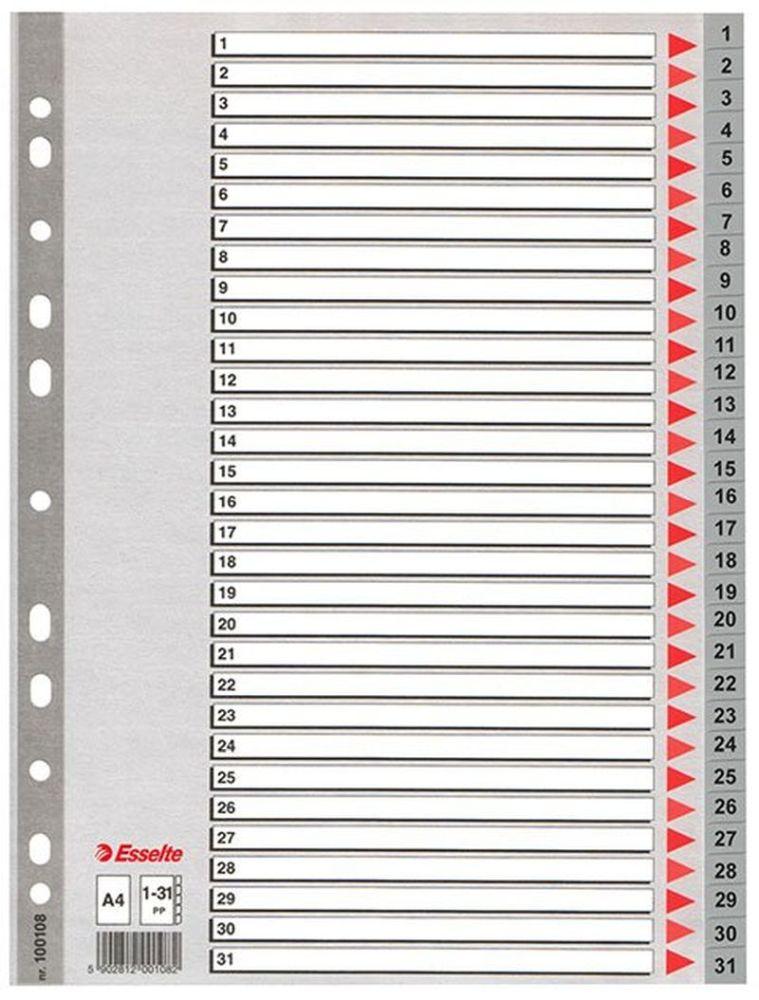 Rozdružovač A4 plast 1-31 Plastové rejstříky z tuhého polypropylenu pro číselné nebo abecední třídění. - multiperforace umožňuje založení rejstříku do kroužkového i pákového pořadače -popisovatelný titulní list pro snadnou orientaci v zakládaných dokumentech Číslování: 1-31 Formát: A4