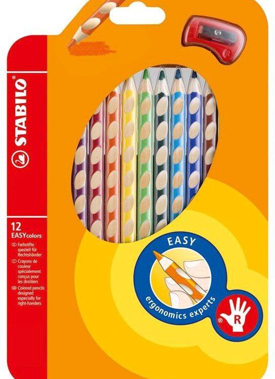 Pastelky Stabilo EASY 12 barev pro praváky PRO PRAVÁKY Součást produktové řady STABILO EASYergonomics experts - experti na ergonomii. Trojhranný design a jedinečné neklouzavé prohlubně zajistí uvolněné držení. Žlutý nebo červený konec jasně signalizuje verzi pro leváky nebo pro praváky. Tuha tvrdosti HB je vhodná jak pro psaní