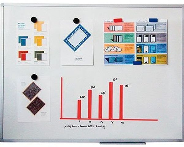 Tabule magnetická Slim 90x120 Bílá magnetická tabule - lakovaná plocha tabule - odolná vůči zlomení -vhodná na psaní suchými stíratelnými popisovači -speciální hladký povrch pro snazší mazání -odkládací lišta (pro popisovače