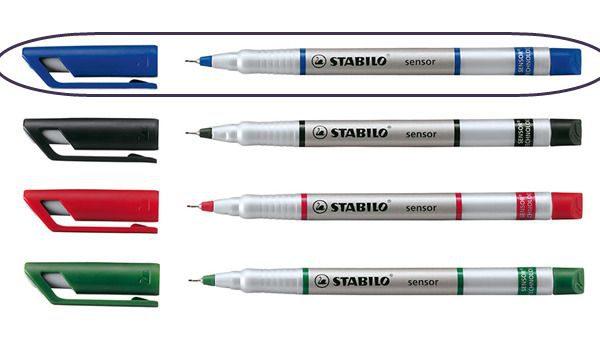 Popisovač STAB. senzor 189 modrá Jemný inkoustový liner -pružící hrot zasazený v kovu je vhodný i pro rýsování -šíře stopy 0