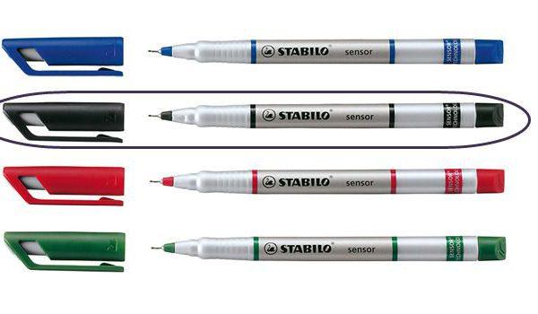 Popisovač STAB. senzor 189 černá Jemný inkoustový liner -pružící hrot zasazený v kovu je vhodný i pro rýsování -šíře stopy 0