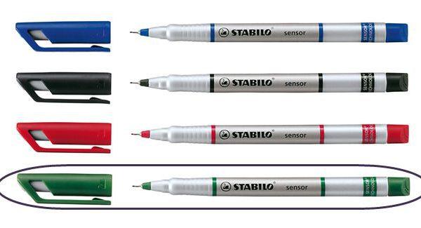 Popisovač STAB. senzor 189 zelená Jemný inkoustový liner -pružící hrot zasazený v kovu je vhodný i pro rýsování -šíře stopy 0