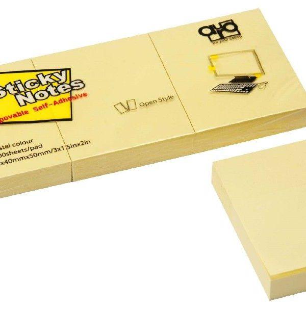Lepicí blok 40x50/3ks žlutý Nepermanentní papírové samolepicí bločky. Ideální pro zanechání vzkazů a připomínek. Při opakovaném použití nezanechává skvrny. Nekroutí se. 3ks Rozměr: 40x50 mm