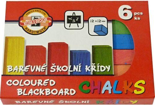 Křída školní barevná 6ks Koh-i-noor Souprava 6 kusů školních barevných čtyřhranných kříd
