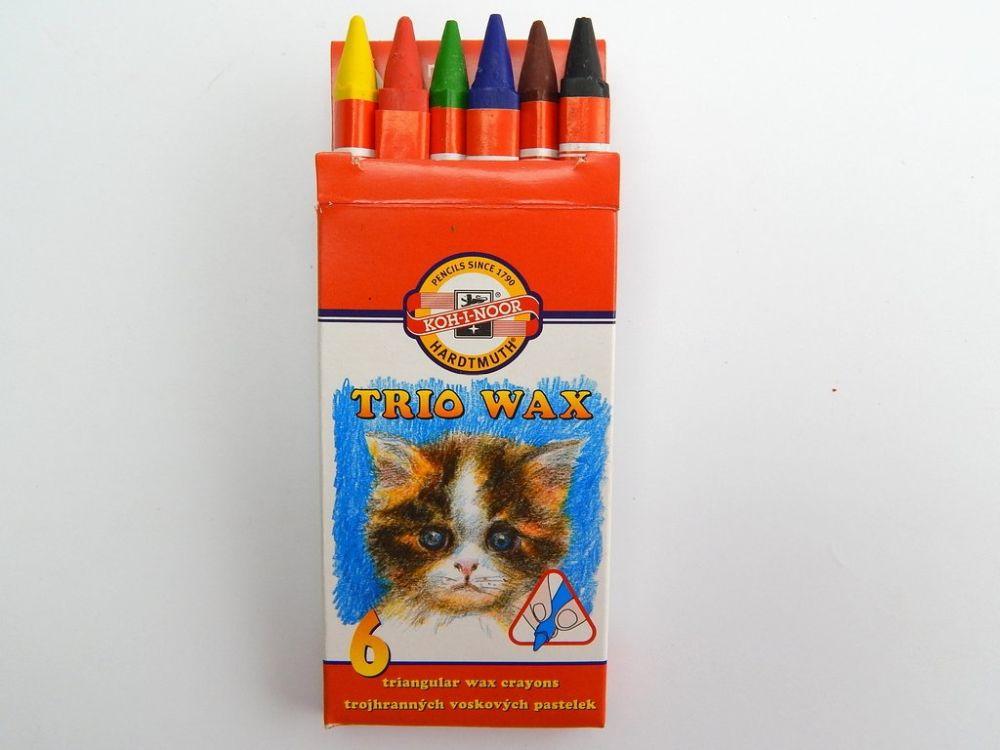 Pastelky voskové 8271 tenké trojhranné Koh-i-noor 6ks TROJHRANNÉ TĚLO-TENKÉ Souprava voskových pastelů velmi dobré kvality. Voskové pastely KOH-I-NOOR lze využít jak k tvorbě měkkých