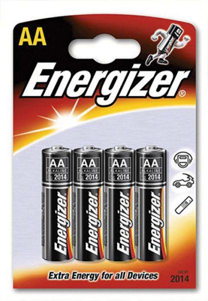 Baterie tužkové alkalické ENERGIZER AA/4ks Alkalické tužkové baterie přinesou dlouhý provoz přístrojům