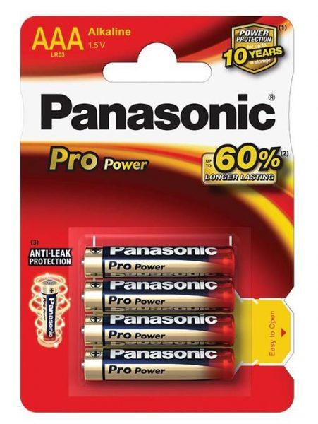 Baterie tužkové mikro Panasonic POWER AAA/4ks Mimořádná životnost! -o 80 % delší výdrž -mikrotužkové baterie AAA -nenabíjecí -napětí 1