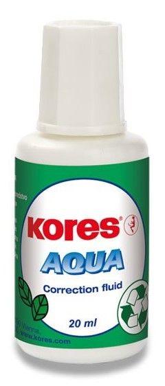Korekční lak 20ml štěteček KORES Aqua Rychleschnoucí opravný lak s vysokou krycí schopností. Šroubovací uzávěr se štětečkem nebo trojrozměrnou houbičkou. Vytváří hladký povrch bez prasklin