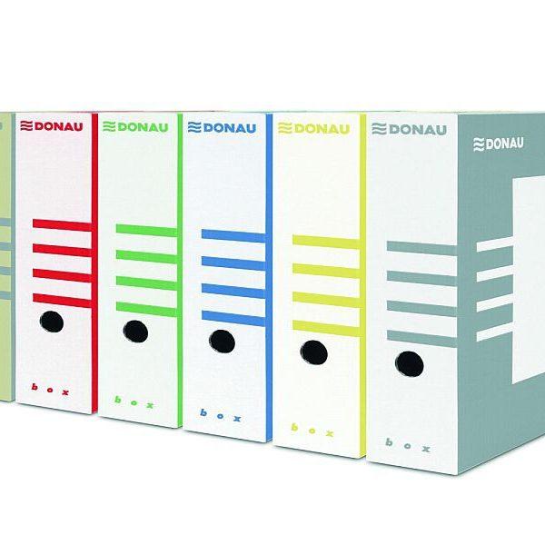 Box archivní plný DONAU /8cm Standardní box pro uložení pákového nebo kroužkového pořadače. - je vyroben ze 3vrstvé lepenky -lze skladovat rozložený