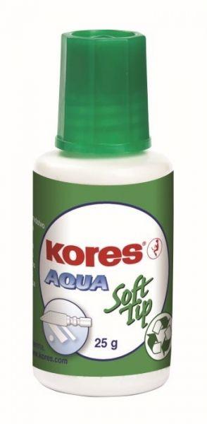 Korekční lak 25ml houbička KORES Aqua Rychleschnoucí opravný lak s vysokou krycí schopností. Šroubovací uzávěr se štětečkem nebo trojrozměrnou houbičkou. Vytváří hladký povrch bez prasklin
