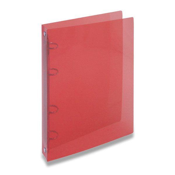 Desky 4 krou/20 OPAL červená Desky z transparentního polypropylenu s kroužkovou mechanikou -šíře hřbetu 2 cm -kapacita 70 listů -balení: 25ks -800 mikronů