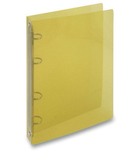 Desky 4 krou/20 OPAL žlutá Desky z transparentního polypropylenu s kroužkovou mechanikou -pro ukládání děrovaných dokumentů -šíře hřbetu 2 cm -kapacita 70 listů -balení: 25ks -800 mikronů