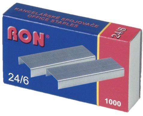 Spojovače do sešívačky 24/6 1000ks RON Spojovače vel. 24/6 -standartní kovové spojovače -balení obsahuje: 1000ks