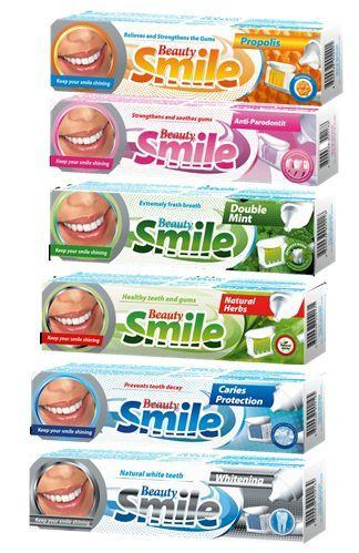Zubní pasta Beauty mix 100ml Pasta Beauty Smile mix druhů! -vhodná pro každodenní čištění a zubů - dokonale čistí zuby bez plaku -zubní pasta dodává svěží dech a příjemný pocit v ústech -chrání zuby před zubním kamenem a kazem a posiluje dásně -mix druhů : Anti-paradontit