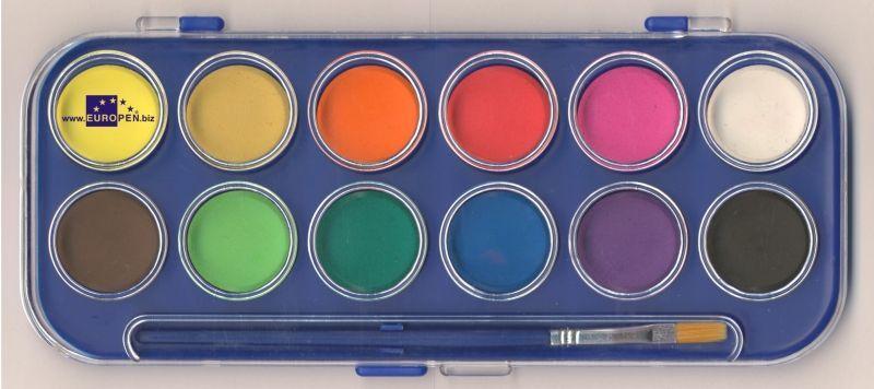 Barvy vodové Europen 30mm/12ks Vodové barvy Europen jsou vhodné pro školní použití