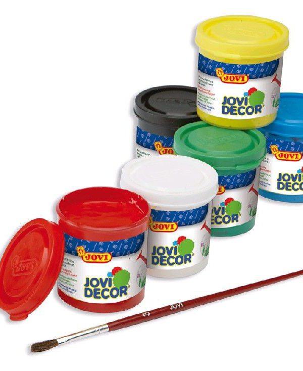 Barvy akrylové JOVI jovidecor 6x55ml + štětec - 670 Plastická barva na bázi vody a latexu