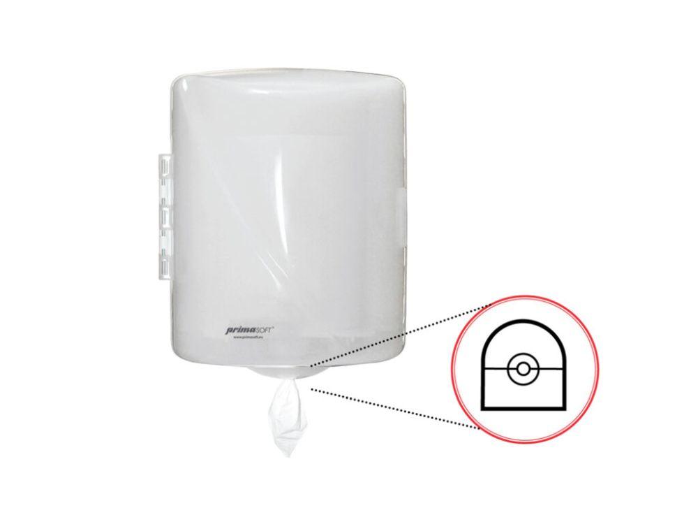 Zásobník na ručník MAXI vnitřní odvíjení středem Plastový zásobník na ručníky MAXI dávkování po útržku