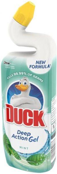 WC Duck tekutý gel 750ml máta Jedinečně zakřivené hrdlo láhve dosáhne pod obrubu WC mísy. Nový hustý tekutý čistič dobře přilne