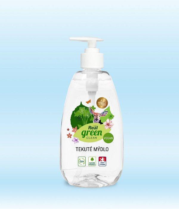 Real GREEN mýdlo tekuté s dávkovačem 500gr Perfektní pro každodenní použití ve VEGANSKÉ KVALITĚ! -dermatologicky testováno -vhodný pro domácnosti s čističkami vod Obsah: 500g