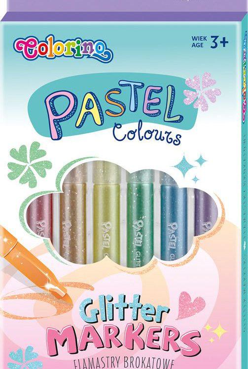 Popisovač Colorino 6ks pastelové barvy s glitry Oblíbené pastelové barvy vhodné především na tmavé plochy. Třpytivý efekt vynikne nejlépe na tmavém papíře. Velmi dobře těsnící bezpečnostní uzávěry. Snadno vypratelné. -vhodné na tmavé podklady -třpytivý efekt -dobře těsnící uzávěry -ideální pro nadšené umělce a začínající výtvarníky Balení obsahuje: 6 barev/krabička