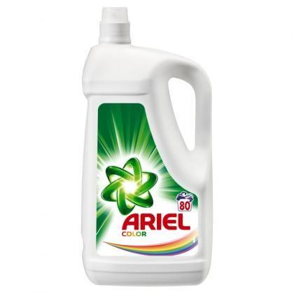 Gel na praní Ariel Color 80PD/ na barevné Tekutý prací prostředek Ariel s aplikačním uzávěrem skvěle odstraňuje skvrny už při prvním praní. Aplikační uzávěr s pružnými lamelami a speciální úpravou povrchu umožňuje ošetřit skvrny před praním