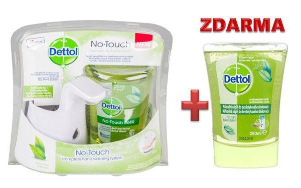 Mýdlo dezinfekční  DETTOL s bezdotykovým dávkovačem 250ml + ZDARMA náhradní náplň 250ml ZDARMA NÁHRADNÍ NÁPLŇ ! Detoll přináší péči a ochranu před mikroby