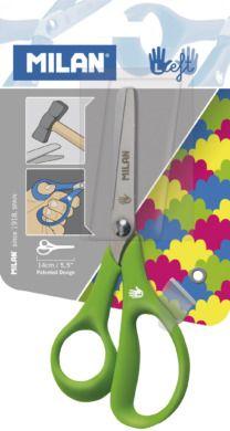 Nůžky dětské pro leváky kulaté 13cm Dětské nůžky se zaobleným koncem a čepelí z nerezové oceli jsou speciálně vyvinuté pro leváky. Nárazuvzdorná rukojeť nůžek je vyrobena z příjemného materiálu a zajišťuje pohodlné uchopení díky ergonomickému tvarování. S ohledem na velikost dětské ruky mají otvory úchytů malý průřez