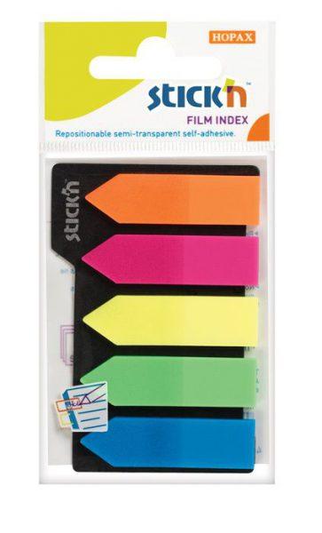 Lepící záložky šipky plastové 12x42 /5barev x 25listů Samolepící záložky ve tvaru šipky plastové barevné