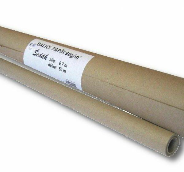 Balicí papír role 100cm/50m Balicí papír šedý -vhodný k balení zásilek -použít lze při zmačkání také jako výplň nebo vystýlka -gramáž: 90gr Rozměr: šířka 100cm