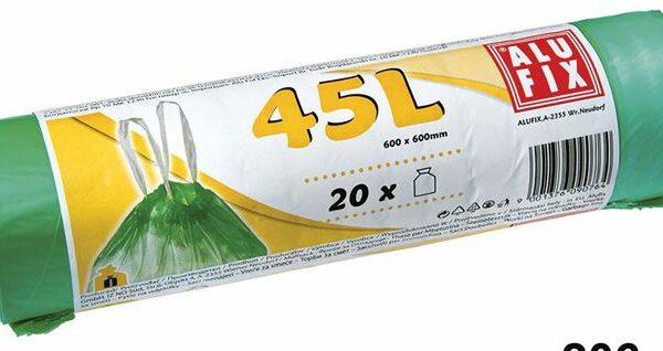 Sáček do koše 45l/60x50/ 20ks ALUFIX zatahovací zelené Polyethylenové pytle do odpadkových košů se zatahovacím páskem. -pytle s uchy pro lepší odnos odpadu s možností zavázání -vhodné do domácnosti