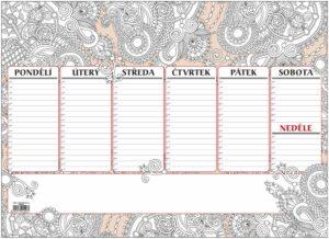 Mapa stolní plánovač Antistres A3/ 30listů OS091 Týdenní univerzální kalendárium - JEDNODUCHÝ A PRAKTICKÝ PLÁNOVAČ! -antistresové omalovánky Rozměr 420x297 Počet listů: 30