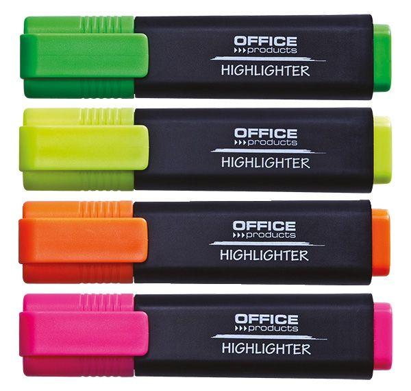 Zvýrazňovač OFFICE plochý sada 4ks Kvalitní zvýrazňovač pro včechny typy papíru. Netoxický
