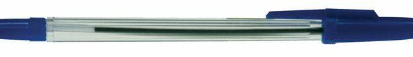 Kuličkové pero jednorázové Mafia modré Jednorázové kuličkové pero. Plastové průhledné tělo s výčkem v barvě náplně. Stopa 1