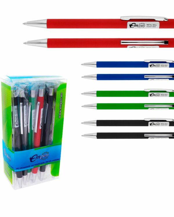 Kuličkové pero s příjemným softovým povrchem mix barev Elegantní kuličkové pero -hliníkové -softový povrch -kovové doplňky -mix barev