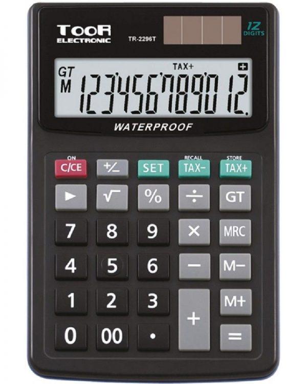 Kalkulačka KW TR2296T voděodolná 12 míst - tlačítko pro nastavení daně - voděodolná - procenta - odmocnina - paměť - klávesa pro změnu znaménka - dvojitá nula - celková suma - energie: baterie