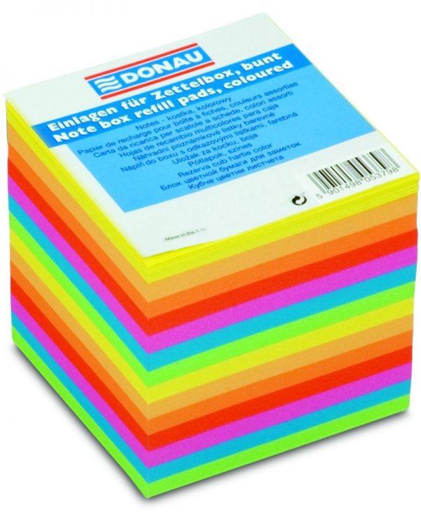 Blok kostka 9x9cm/800l lepená neon mix Univerzální poznámkový papír lepený do bloku. Ekologicky šetrný. Určen pro použití samostatně nebo náhradní náplň do zásobníku. Individuálně balené v plastové fólii. Rozměry: 90x90 mm