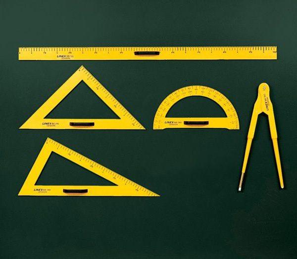 Rýsovací potřeby na školní tabuli  - sada / 5 ks Rýsovací potřeby na tabuli ve žluté barvě