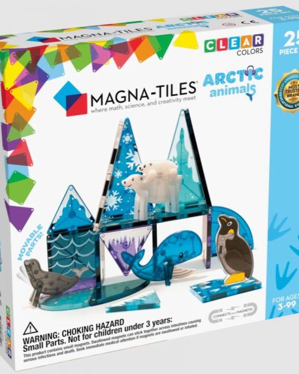 Stavebnice magnetická Magna Tiles Artic 25ks Vydejte se do vody pokryté ledem s 25dílnou sadou Magna-Tiles® Arctic Animals. Mladí průzkumníci mohou sledovat stopy tučňáků a ledních medvědů na jejich původních stanovištích